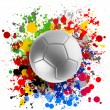 3d rendering of a soccer ball with flags splashing colors — Stock Photo #30947383