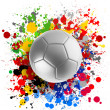 3d rendering of a soccer ball with flags splashing colors — Stock Photo