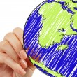Stock Photo: Female hand drawing earth