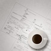 Copo de café 3D azul engenheiro impressão — Fotografia Stock