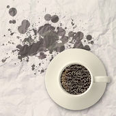 Coffee spilling out of a cup 3d as vintage style — Stock Photo
