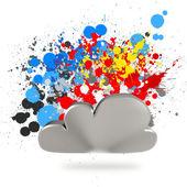 Cloud computing sign on splashing colors background — Stock Photo