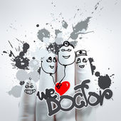 Lovely family hand drawn and finger,doctor and nurse,we love doc — Stock Photo