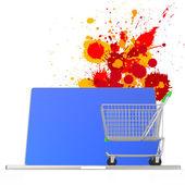 Compras online 3d em fundo de cores de respingo — Foto Stock