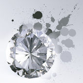 Diamond isolated on white 3d model and slash colors — Stock Photo