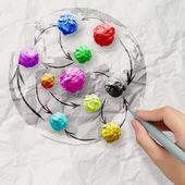 Mano dibuja colores arrugados papel como estructura de la red social — Foto de Stock
