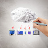 Crumpled paper Cloud Computing diagram — Stock Photo