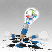 Drawing idea pencil and light bulb concept creative and splash c — Stock Photo