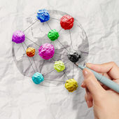 Hand draws colors crumpled paper as social network structure on — Stock Photo