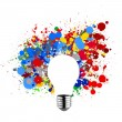 Invisible light bulb and splash colors — Stock Photo