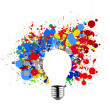 Invisible light bulb and splash colors — Stock Photo #30950455