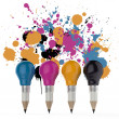 Pencil lightbulb head in cmyk color as creative design concept o — Stock Photo