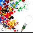 Creative design business as pencil lightbulb 3d and splash color — Stock Photo