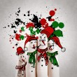 A lovely family hand drawn and finger of snowmen,as concept idea — Stock Photo