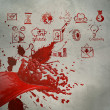 3D paint red color splash and business strategy background — Stock Photo