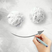 Hand draw smile face arrow and crumpled paper texture — Stock Photo
