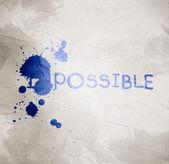Impossible text on gray wrinkled paper and splash color — ストック写真