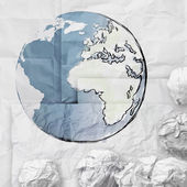 Crumpled world paper symbol as concept — Stock Photo