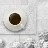 Coffee spilling out of a cup 3d on crumpled paper backgrouund — Stock Photo