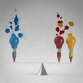 False balance of pencil lightbulb and splash colors background — Stock Photo