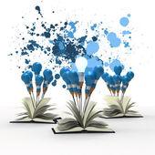 Tekening idee potlood en gloeilamp concept buiten het boek met — Stockfoto