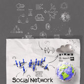Hand drawing diagram of social network structure — Stock Photo