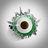 3d-kopje koffie verfrommeld papier reizen rond de wereld — Stockfoto