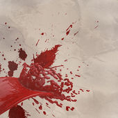3D paint red color splash isolated on wrinkled paper — Stock Photo