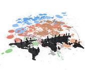 социальная сеть человека 3d на карте мира — Стоковое фото