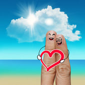 Finger family travels at the beach and family word — Stock Photo