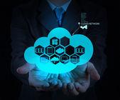 Bulut ağ fikir kavramı hakkında gösterilen işadamı el — Stok fotoğraf
