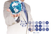 Businessman hand working with new modern computer show the earth — Stock Photo