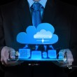 Businessman working with a Cloud Computing diagram on the new co — Stockfoto #31376027