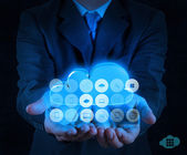 Businessman working with a Cloud Computing diagram — Stock Photo