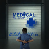 Medicine doctor working with modern computer as medical concept — Stock Photo