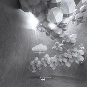 Disegno basso poligono 3d astratto per computer networking nube — Foto Stock