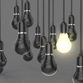Concepto idea y liderazgo creativo con creciente 3d bombilla — Foto de Stock