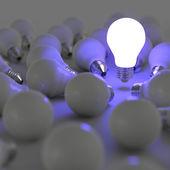 3d ampoule croissante, se démarquant de la b à incandescence non éclairée — Photo