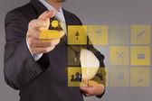 Businessman hand hold Alternative Energy solar cell — Stock Photo