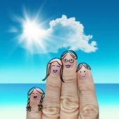 Finger family travels at the beach and singing a song — Stock Photo