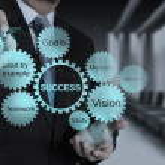 Businessman hand draws business success chart — Stock Photo #31383251