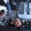 Businessman hand draws gear to success  — Stock Photo