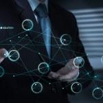 Businessman hand pushing solution diagram — Stock Photo