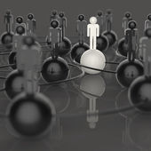 3d white and black and red human social network and leadership — Stock Photo