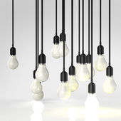 Creative idea and leadership concept with 3d light bulb — Stock Photo