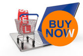 Buy now with shopping cart sale — Stok fotoğraf