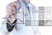 Businessman hand draws virtual chart business — Stock Photo