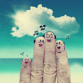 Finger family travels at the beach — Stock Photo