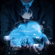 Businessman working with a Cloud Computing diagram on the new co — Stock Photo #31397135