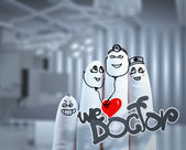 A lovely family hand drawn and finger,doctor and nurse,we love d — Stock Photo